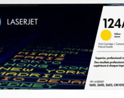 HP 124A Yellow Original LaserJet Toner Cartridge, Q6002A