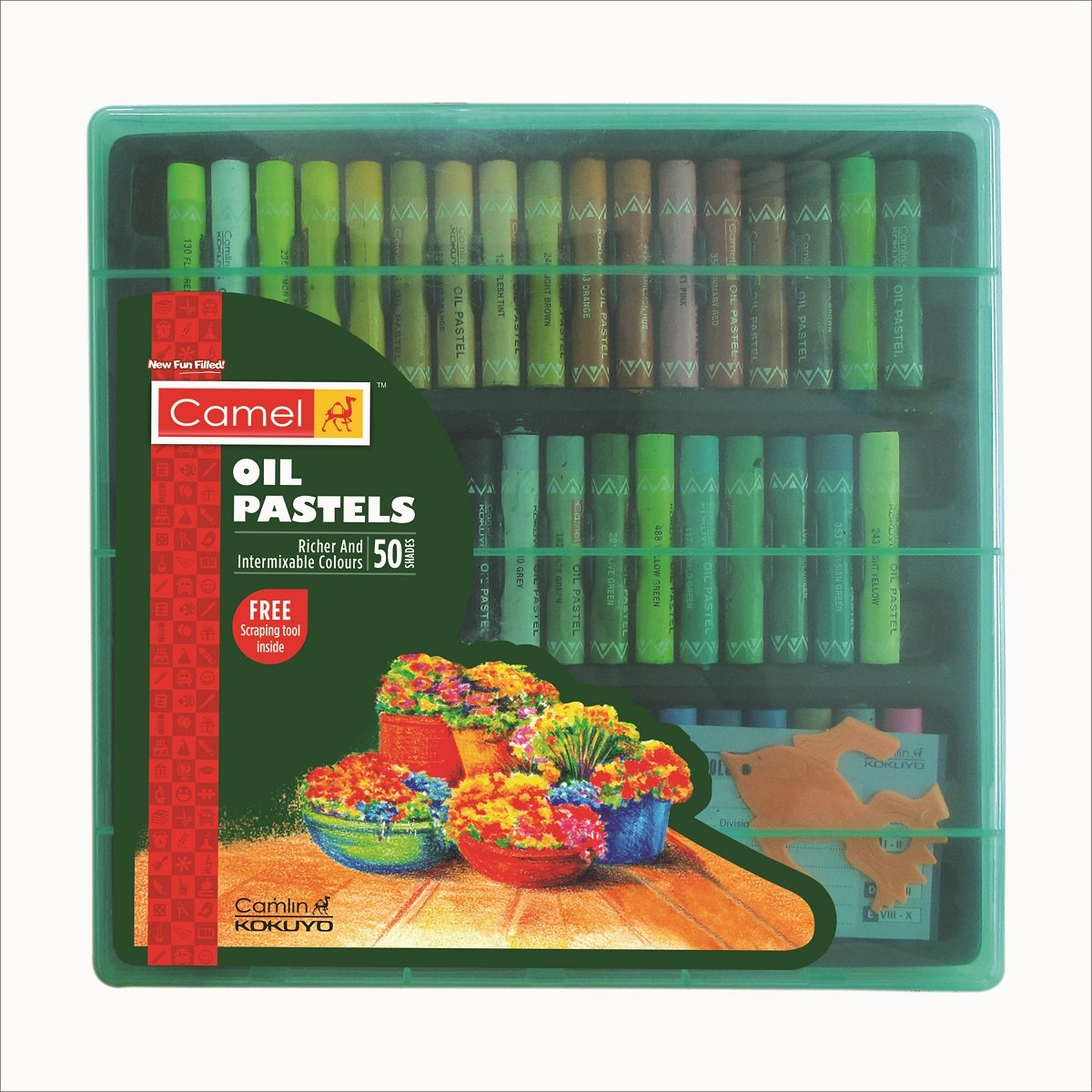 Camel Oil Pastel with Reusable Plastic Box – 50 Shades