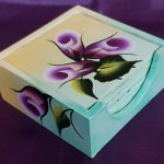 Wooden hand-painted set of 6 tea coasters