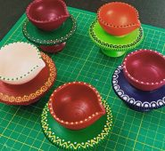 Attractive Handcrafted Multicolor Diyas set of 5